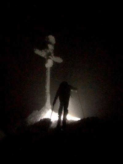 Skitour at night... Skitouring Skiing Winter Night Real People One Person Standing Full Length Illuminated Dark Outdoors
