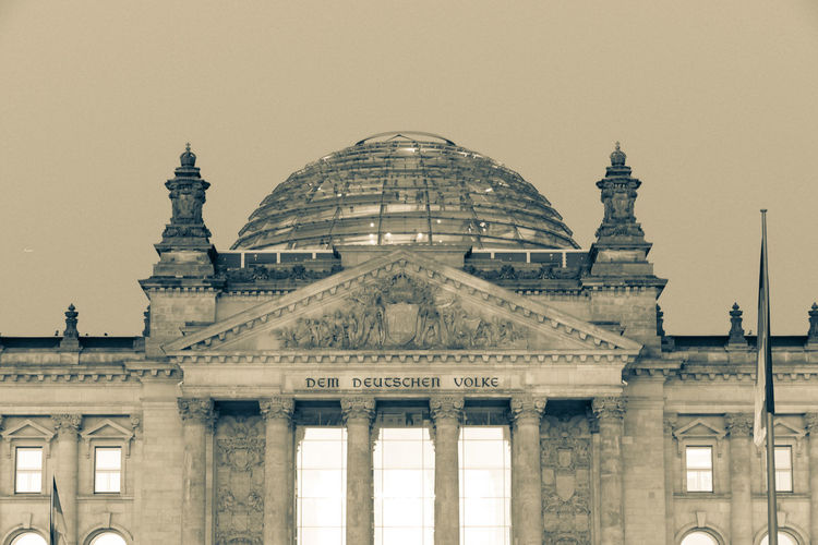 Reichstag Architectural Column Architecture Building Exterior Built Structure City Clear Sky Colonnade Dome Government History Low Angle View Nature Neo-classical No People Outdoors Reichstag Sky The Past Tourism Travel Travel Destinations