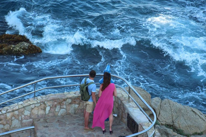 Two People High Angle View Rear View Water Full Length Day Togetherness Real People Sea Wave Women Outdoors Nature Adult People Gironamenamora Costa Brava Lloret De Mar 100 Days Of Summer