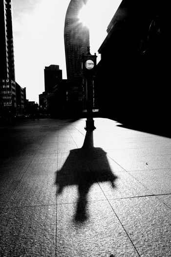 Shadow of person on street by footpath
