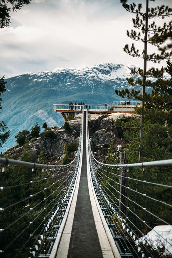 Panoramic view of bridge and mountains against sky