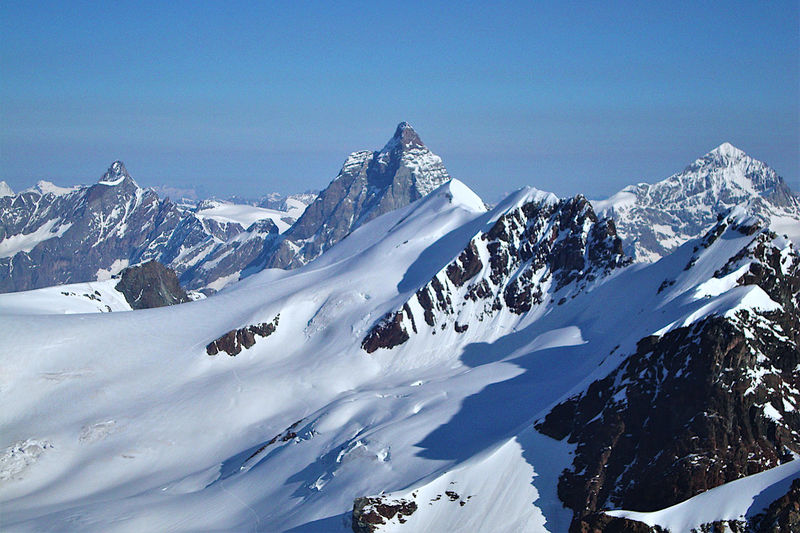 Breithorn, matterhorn and swisse alps as seen from castore summit, monte rosa, alps, italy