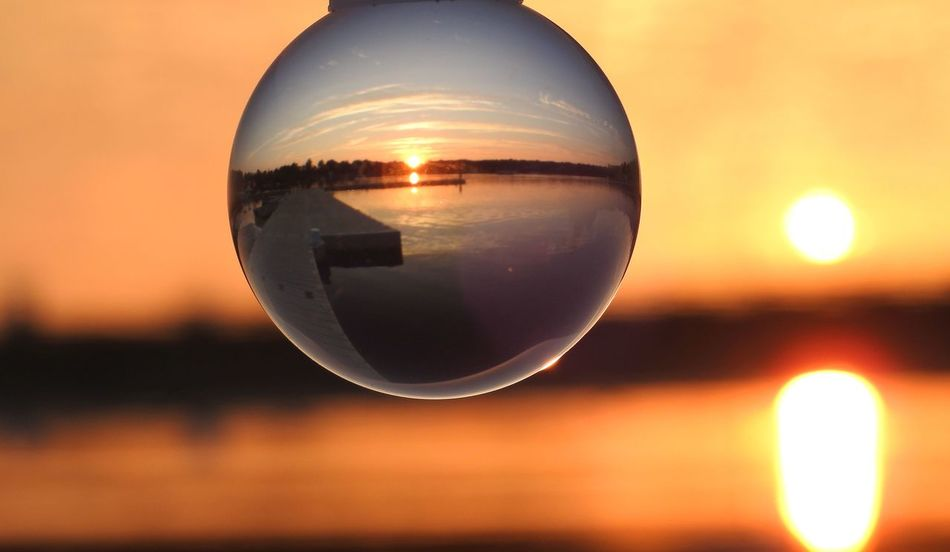 Nikon P900 Sunset Photography Sunset_collection Water Reflections Wethersfield Cove Ball Close-up Crystal Crystal Ball Day Dock Dock On Water Focus On Foreground Lensball Nature Nikon Coolpix P900 No People Outdoors Reflection Scenics Sky Sphere Sun Sunset Sunset Over Water