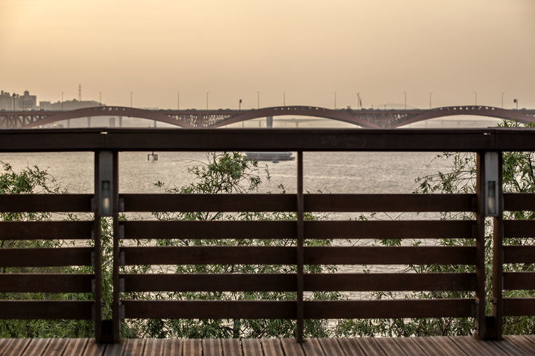 Afternoon Architecture Beauty In Nature Bridge - Man Made Structure Built Structure Day Engineering Fence Han River Hangang Idyllic Nature No People Outdoors Pier Railing Riverside Scenics Seonyudo Sky Tranquil Scene Tranquility