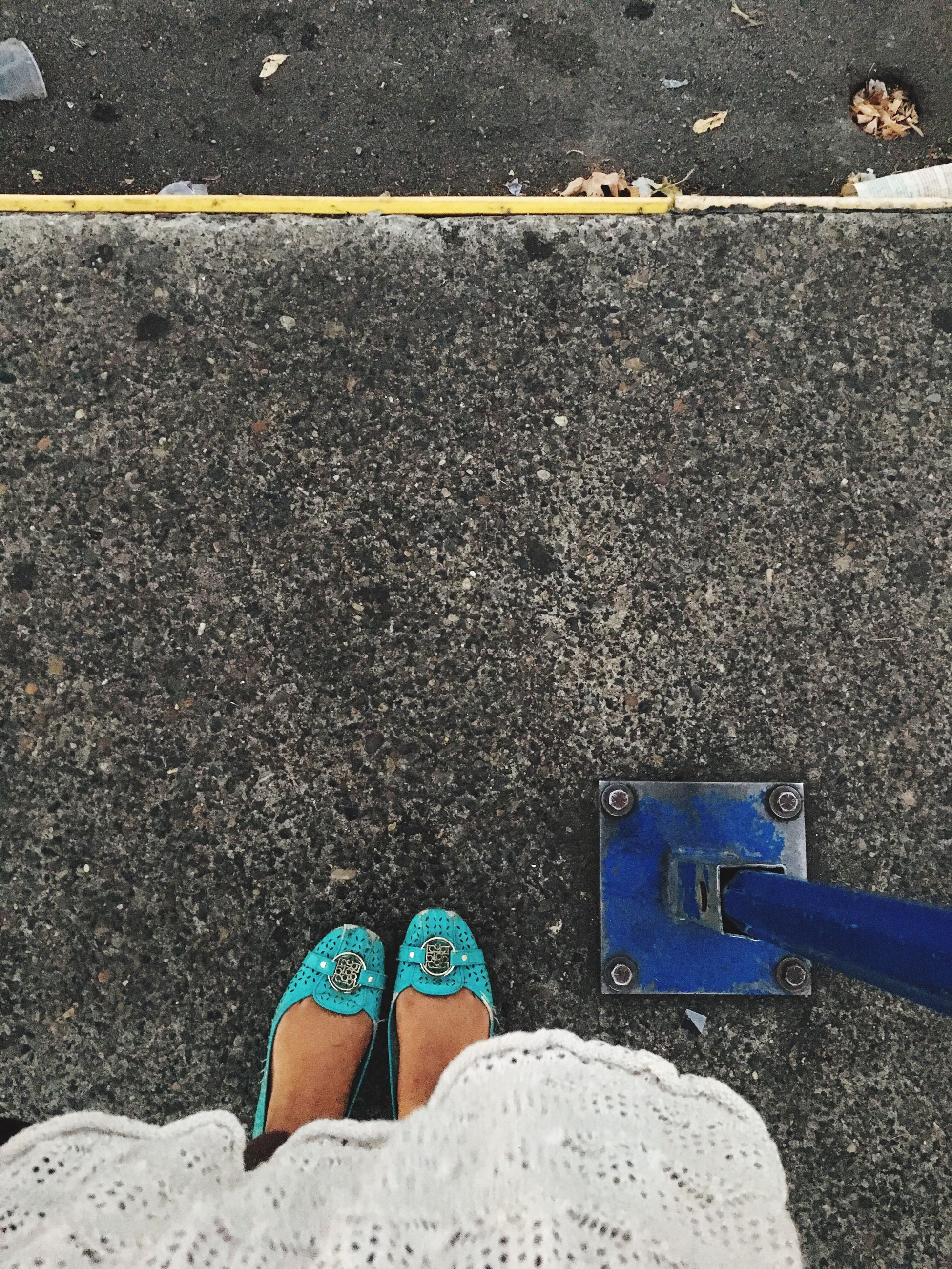 asphalt, directly above, transportation, street, road, low section, day, person, outdoors, weathered