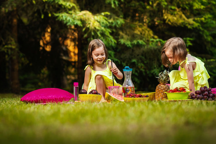 Picnic Girl Child Childhood Kid Forest Summer Sister Sisters Twins