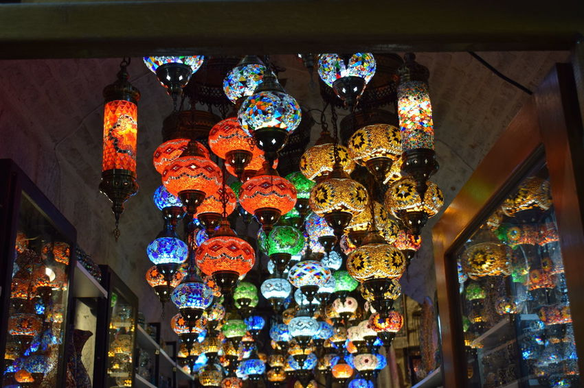 Abundance Architecture Arrangement Built Structure Ceiling Choice Collection Decoration Electric Lamp For Sale Hanging Illuminated Indoors  Lantern Large Group Of Objects Light Lighting Equipment Low Angle View Multi Colored No People Ornate Retail  Retail Display Variation