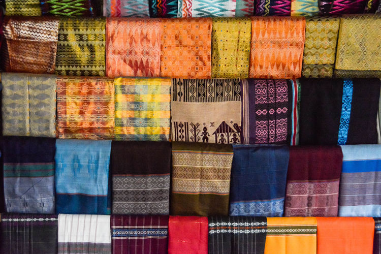 Full frame shot of multi colored market stall