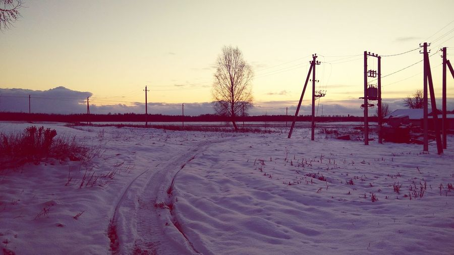 Sunset Nature Outdoors Beauty In Nature Cold Temperature Day Village Krakunai Lithuania Nature