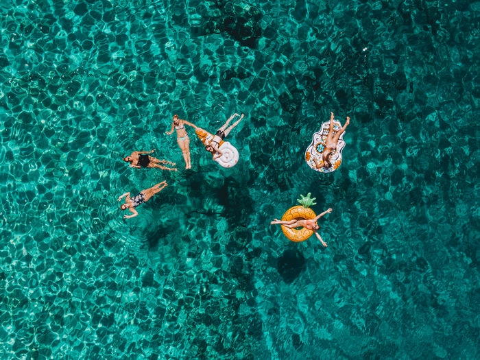 High Angle View Drone  Dronephotography Aerial View Aerial Aerial Photography Travel Destinations Travel Croatia Holiday Vacations Adventure EyeEm Best Shots The Week on EyeEm Inflatable  Relaxing Friends Turquoise Colored Leisure Activity Happiness Water Sea Moments Of Happiness 2018 In One Photograph