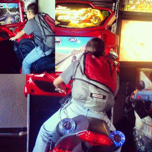 Haha he Said he realllllllly wanted to ride a dirtbike and motorcycle,so took him to the arcade Big_cheese New_arcade Close_enough He_got_to_ride dirtbike motorcycle lol :D