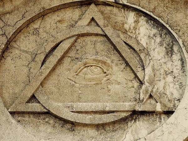 Sapientia Ancient Ancient Civilization Architecture Astrology Sign Astronomy Bas Relief Church Detail Close-up Day Freemason Sign No People Ouroboros Outdoors Sculpture Spirituality Symbol The Eye Of God Triangle Venice, Italy