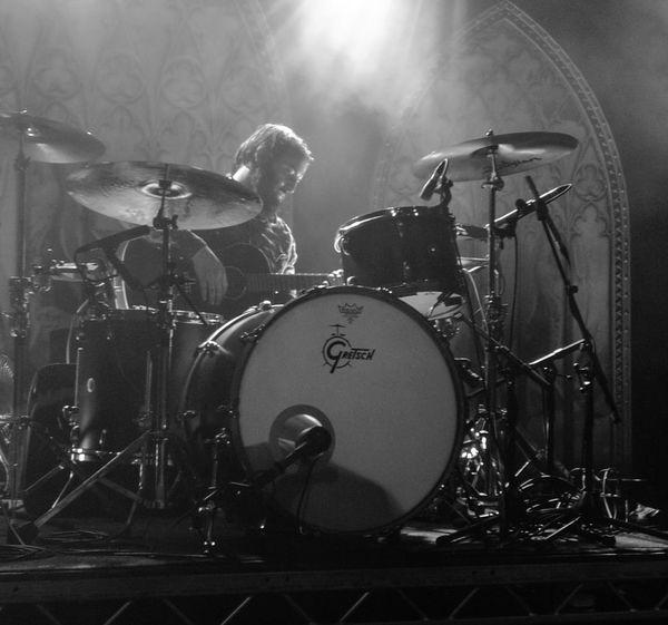Band of Skulls, SWX club Bristol Drum - Percussion Instrument Rock Music Drum Kit Black & White Rock Band Concert