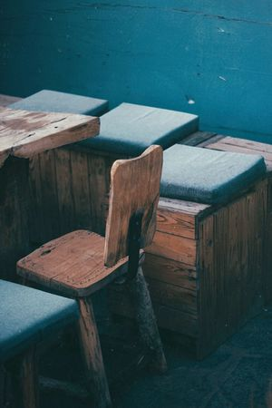 Sit down, we gotta talk Table Design Interior Design Coffee Shop Cafe EyeEm Selects Wood - Material No People Day High Angle View Table Wood Seat Indoors  Furniture