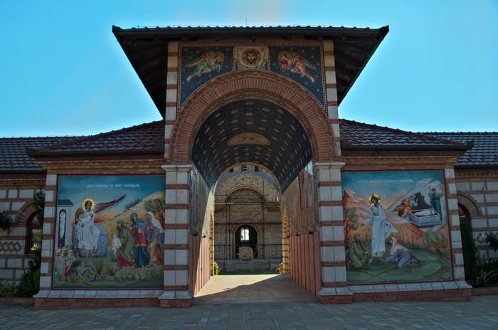 Woman Orthodox Monastery in Kac, Serbia Christian Hope Icons Monastery Peace Serbia Travel Arch Architecture Art Art And Craft Building Exterior Built Structure Clear Sky Day Fate  Iconography Low Angle View No People Orthodox Outdoors Religion Saint Sky Tourism