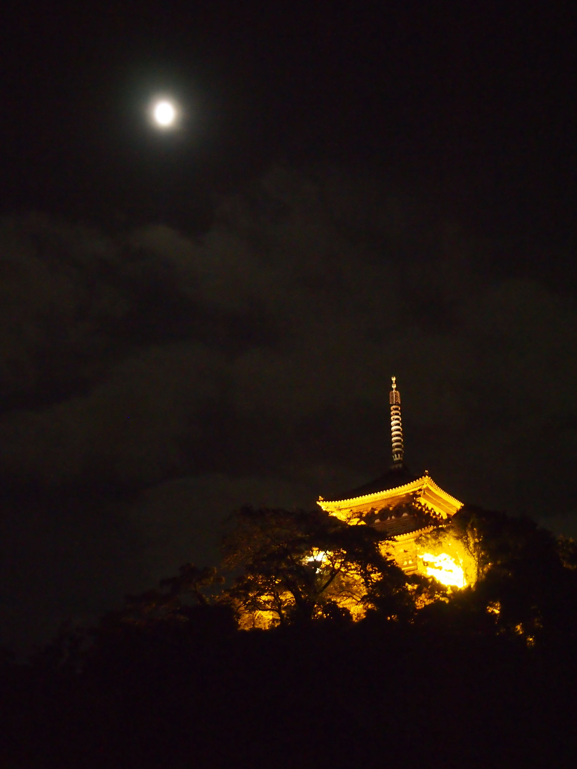 Low Angle View Of Illuminated Temple Against Sky At Night