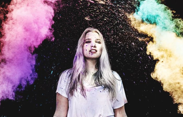 Colorful Live One Person Front View Long Hair Adult Young Adult People Fun Happiness Outdoors Blond Hair Colors Photoshoot Holi Powder Holi Festival Of Colours Model Posing First Eyeem Photo