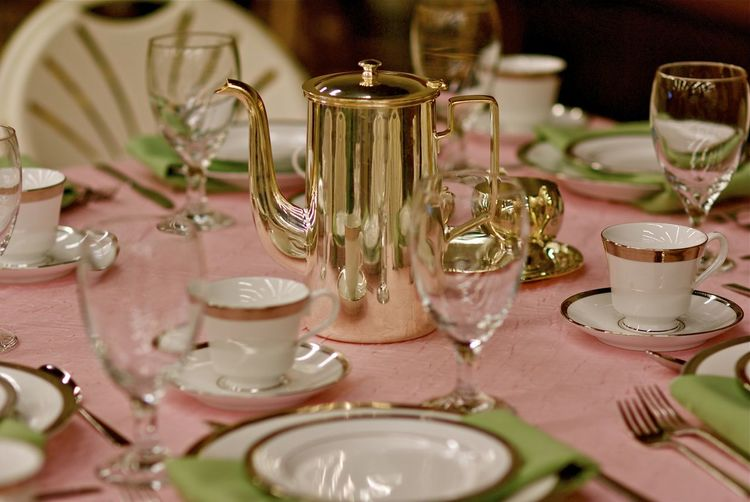 Silver Tea Set on Wedding Table #2 Silverware  Chinaware Close-up Day Dining Table Dinner Set Drinking Glass Flower Food Food And Drink Indoors  No People Place Setting Plate Table Tablecloth Wedding Decoration Wedding Table Wineglass