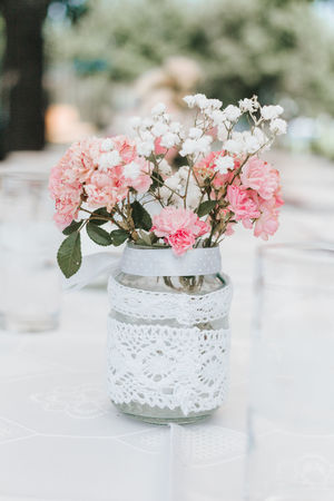 Flower Decoration Beauty In Nature Bouquet Bunch Of Flowers Close-up Decoration Dining Table Flower Flower Arrangement Focus On Foreground No People Summer Decorations Vase Wedding Decoration White Lace First Eyeem Photo