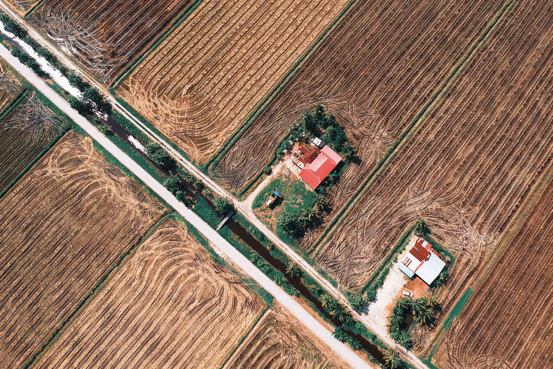 High Angle View Farm Agriculture Plant Rural Scene Landscape Field Growth Nature Land No People Day Technology Scenics - Nature Environment Industry Aerial View Outdoors Architecture Fuel And Power Generation