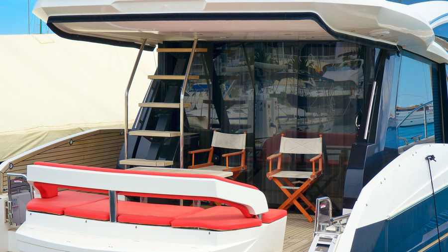 View of empty boat moored on building