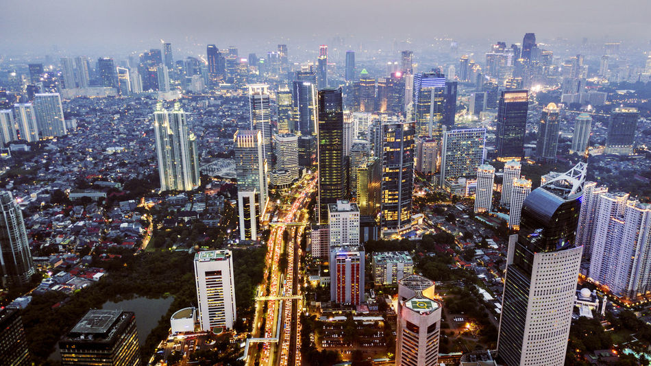 INDONESIA Jakarta Architecture Building Building Exterior Built Structure City City Life Cityscape Crowd Crowded Financial District  High Angle View Illuminated Landscape Modern Night Nightlife Office Building Exterior Outdoors Residential District Skyscraper Tall - High Tower Urban Skyline