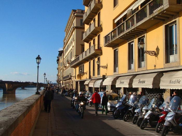 Bridge Buildings City Life Day Fiume Arno Motorbike Tourism Water