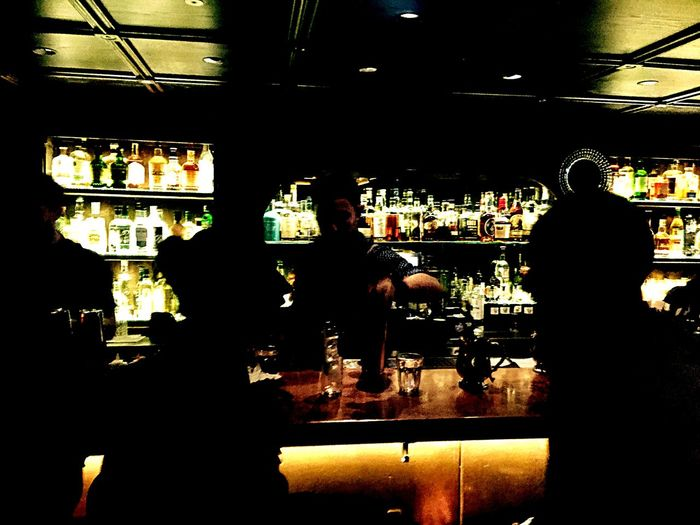 Silhouette of people at restaurant