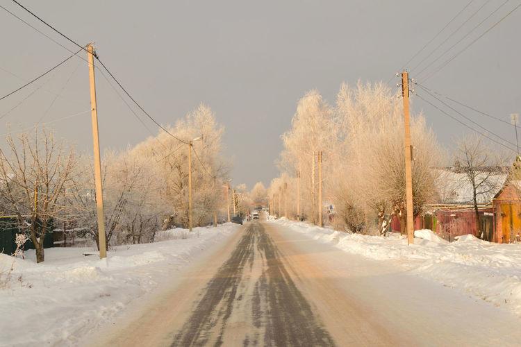 A bit of winter. Nikon Colors Russia Snowdrift Evening City Streetshot Россия зима снег мороз сугроб Frost город уличный снимок пейзаж вечер Snow Winter Tree Road Extreme Weather Sky Landscape