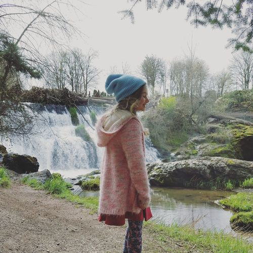 Child One Person Childhood Children Only Tree Nature One Girl Only Outdoors People Water Sky Day Waterfalls Hat