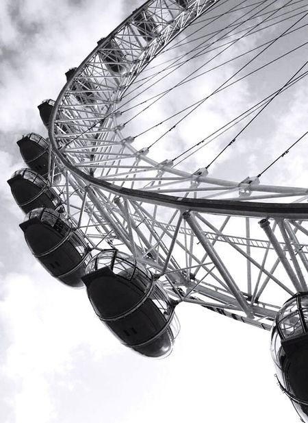 Battle Of The Cities The London Eye London Arts Culture And Entertainment Low Angle View Cloud Enjoyment Fun Sky Large Cropped Part Of Big Wheel Close-up Cloud - Sky Day Millennium Wheel Close Up Monochrome Photography