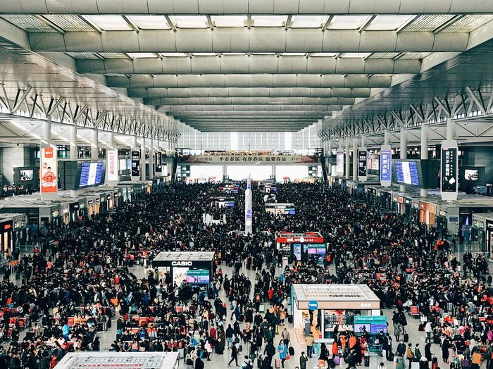 Large Group Of People Crowd Architecture Train Station China Shanghai Chinese New Year Hongqiao Train Station Symmetry Population Human City