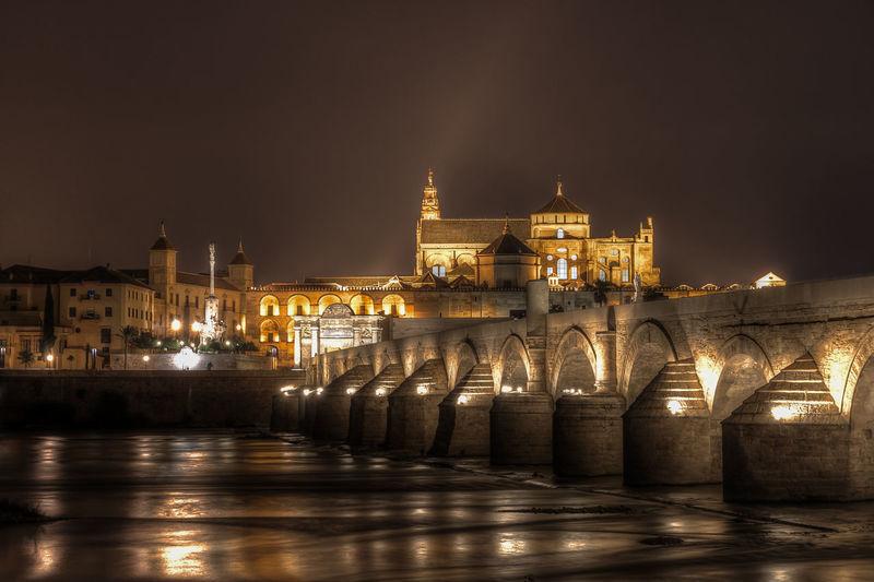 Illuminated bridge over river against buildings