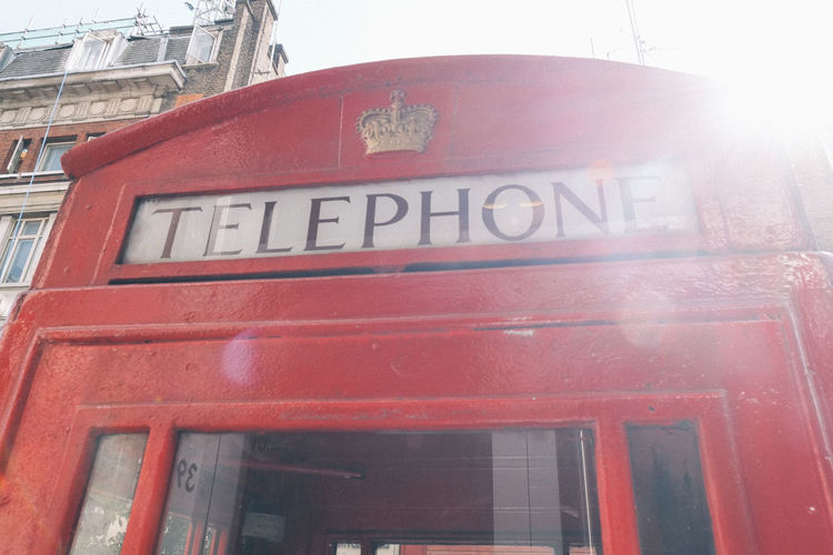 City London Red Flare Royal Street Telephone Telephone Booth Telephone Line