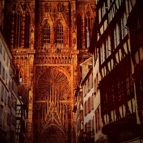 The Cathedral of Our Lady of Strasbourg in the glow of the setting sun. This is brilliant. I do not need to see even a patch of sky. Architecture Cathedral Evening Light Façade Famous Place Historic Sacral Architecture Spirituality Strasbourg Capture The Moment Fine Art Photography