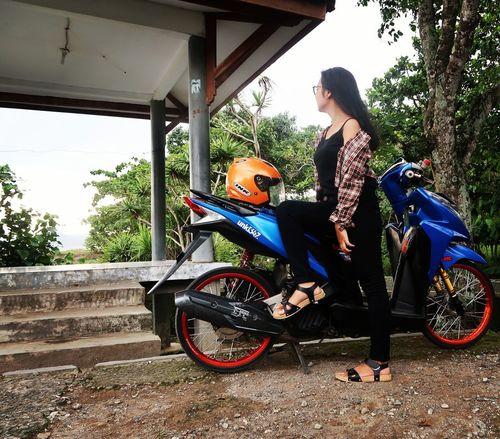 girl and motorcycle PelabuhanRatuBeach West Java  Tree Young Women Biker Motorcycle Beauty Beautiful Woman Standing Females Individuality Beautiful People Motor Scooter Riding Scooter Parking EyeEmNewHere