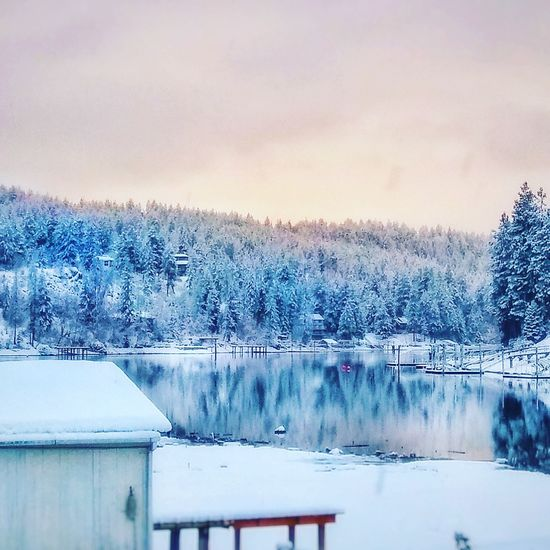 Harbor Island   Coeur d'Alene, ID. Cloud - Sky No People Snow Mountain Tranquil Scene Cold Temperature Reflection Tranquility Water Tree Outdoors Day Snowing Nature Idaho Dock Landscape Beauty In Nature Nature Sky Lake Scenics