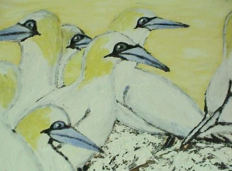 Acrylic Painting, Birds Of The Sea, Art, Drawing, Creativity Bird Day Nature No People Outdoors Painted Image