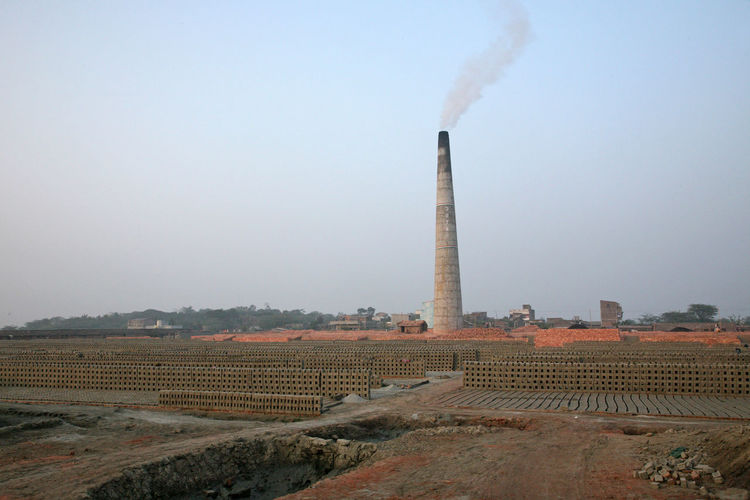 Brick factory against clear sky