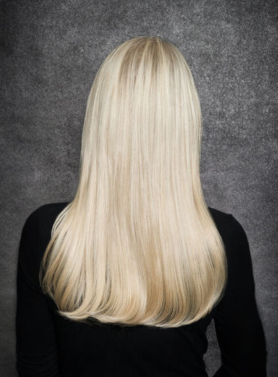 Long blonde hair from the back Blond Hair Close-up Gray Background Indoors  Long Hair One Person One Woman Only Real People Rear View Studio Shot