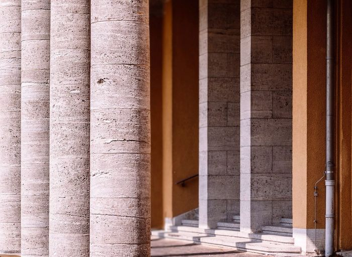 Columns in row on sunny day