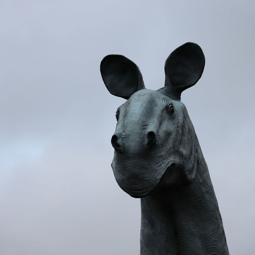 Close-up of a statue against sky
