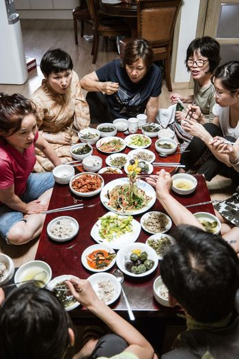 High angle view of people having food