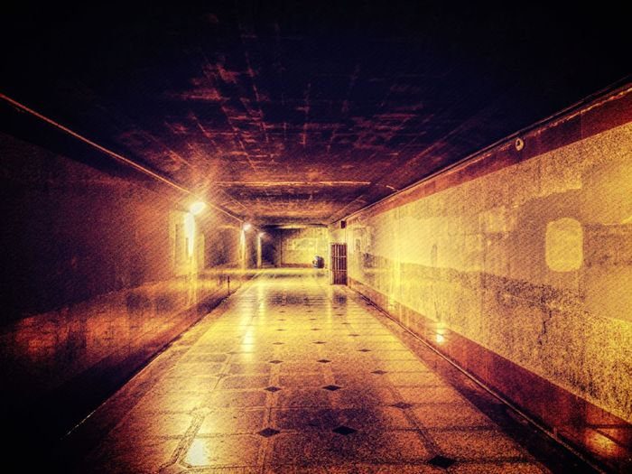 The Way Forward Illuminated Narrow Empty Architecture Diminishing Perspective Tunnel Pedestrian Walkway Long Empty Road Electric Light No People Vanishing Point Surface Level Arched