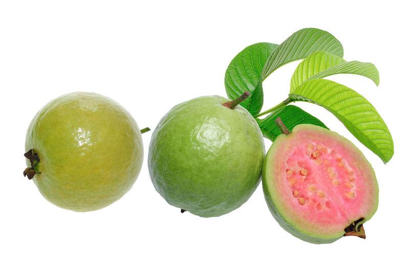 guava fruits White Background Fruit Leaf Healthy Lifestyle Agriculture Ripe Vitamin Citrus Fruit Tree Organic Fruit Juice