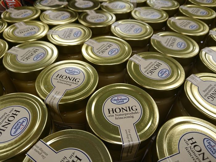 Berlin, Germany - February 3, 2018: Jars of Christians Grod Honig, German for honey Food And Drink Grocery Shopping Grocery Store Ingredients Isolated Jar Of Honey Supermarket Brand Close-up Editorial  Food Full Frame Groceries Grocery Health Healthy Healthy Eating Healthy Food Honey Ingredient Jar Jars  Nobody Retail