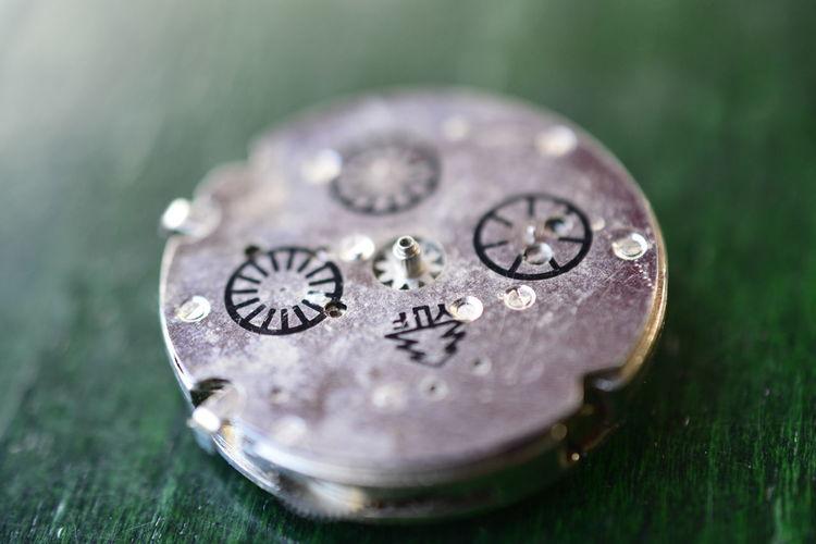 Close-up of clockworks