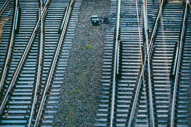 Railway Perspective Transportation Abstract Architecture Day High Angle View No People Outdoors Parallel Public Transportation Rail Transportation Railroad Track Transportation