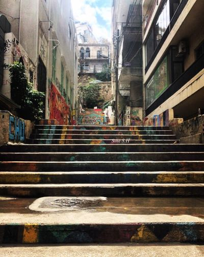 Mar mkhayel stairs Architecture Building Exterior Built Structure City Street Road Building Day The Way Forward No People City Life Direction