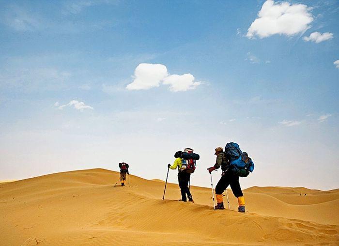Sand Dune Full Length Headwear Desert Togetherness Men Sand Arid Climate Adventure Challenge